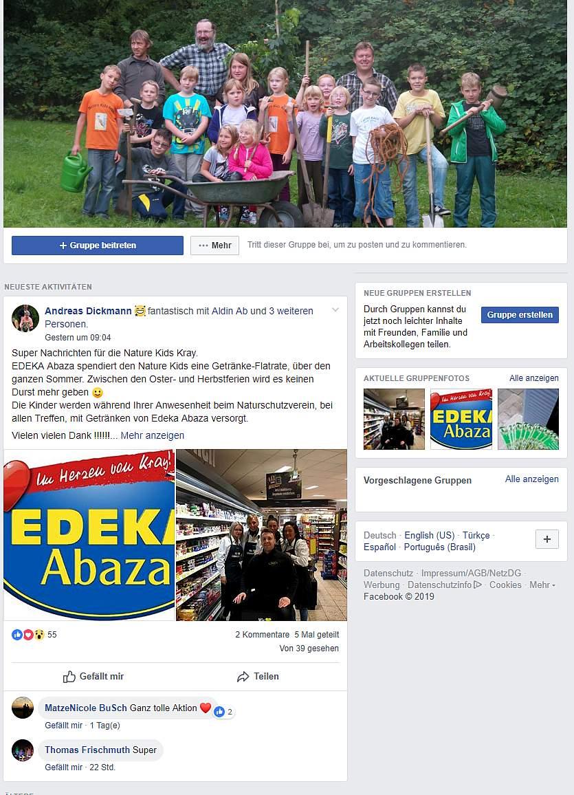 Die Nature Kids Kray bedanken sich bei EDEKA Abaza auf Facebook