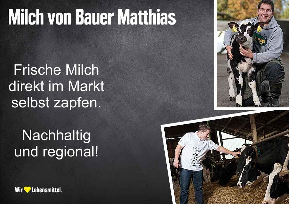 Frische Milch von Milchbauer Matthias im Markt selber zapfen